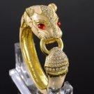 Swarovski Crystals Bisque Enamel Animal Panther Leopard Bracelet Bangle Cuff