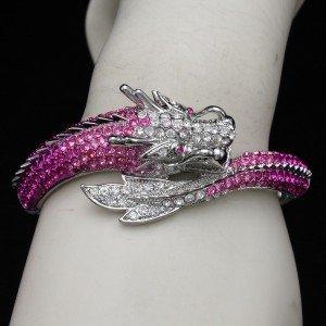 New Hot Pink Rhinestone Crystals Dragon Bracelet Bangle