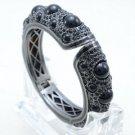 New High Quality Enamel Bracelet Bangle Cuff W/ Black Rhinestone Crystals