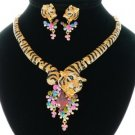 Good Quality Swarovski Crystals Animal Multicolor Tiger Necklace Earring Set