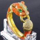 Enamel Panther Leopard Bracelet Bangle Cuff W/ Clear Swarovski Crystals