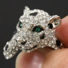 Swarovski Crystals Cute Clear Panther Leopard Cocktail Ring 7#