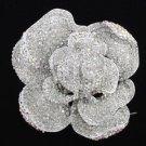 "Rhinestone Crystals Clear Flower Rose Brooch Pin 3.9"""