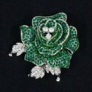 Rhinestone Crystals Retro Cute Green Rose Flower Brooch Pin 2.1""
