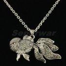 Swarovski Crystals Cute Gray Goldfish Gold Fish Necklace Pendant