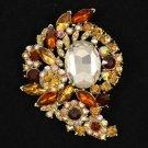 "Brown Flower  Brooch Pin 3.1"" W/ Rhinestone Crystals"