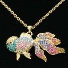 Cute Gold Fish Goldfish Necklace Pendant W/ Mix Swarovski Crystals