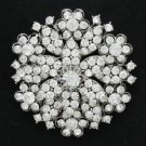 "5PCS Round Flower Brooch Pin 2.2"" W/ Rhinestone Crystals Wholesale Best Deal"