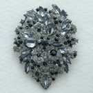 "New Beautiful Black Flower Brooch Pin 3.9"" W/ Gray Rhinestone Crystals"
