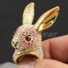 Swarovski Crystals Cocktail Pretty Pink Animal Bunny Rabbit Ring 6#