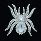 Vogue Tarantula Spider Brooch Pin W/ Clear Rhinestone Crystals