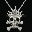 Clear Crown Skull Necklace Pendant Swarovski Crystal