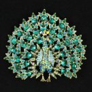 "Green Peafowl Peacock Brooch Pendant Pin 3.3"" W/ Rhinestone Crystals"