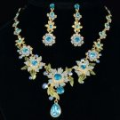 Swarovski Crystals High Quality Drop Blue Flower Necklace Earring Set