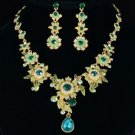 Swarovski Crystals High Quality Trendy Green Flower Necklace Earring Set
