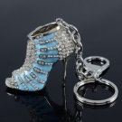 Rhinestone Crystals Hot Vogue Blue High-Heel Shoe Key Chain Key Ring