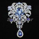 Hot Swarovski Crystals Blue Flower Pendant Brooch Pin 5.1""