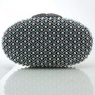 Pretty Gray Pearls Clutch Evening Bag Purse Handbag W/ Swarovski Crystals