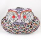 Swarovski Crystals Multicolor Bird Owl Clutch Evening Purse Bag Handbag Party