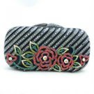 Clutch Evening Flower Handbag Purse Bag W/ Black Swarovski Crystal Special Offer