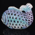 Blue Fish Clutch Evening Handbag Purse Bag W/ Swarovski Crystals