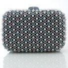 Hot Gray Imitation Pearls Clutch Evening Bag Purse Handbag W/ Swarovski Crystals