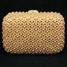Hot Pretty Brown Pearls Clutch Evening Bag Purse Handbag W/ Swarovski Crystals