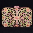 Luxurious Pink Flower Clutch Evening Handbag Purse Bag W/ Swarovski Crystals
