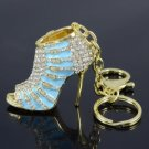 Hot Pretty Blue High-Heel Shoe Key Ring KeyChain W/ Rhinestone Crystals