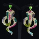 Rhinestone Crystals Animal Pierced Multicolor Cobra Snake Earring