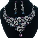Unique Purple Skull Star Necklace Earring Set W/ Swarovski Crystals 4 Halloween