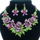 Multi Butterfly Rose Flower Necklace Earring Set W/ Purple Rhinestone Crystals