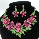New Multi Butterfly Rose Flower Necklace Earring Set W/ Pink Rhinestone Crystals