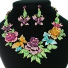 Multi Butterfly Rose Flower Necklace Earring Set W/ Mix Rhinestone Crystals