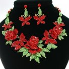 New Multi Butterfly Rose Flower Necklace Earring Set W/ Red Rhinestone Crystals