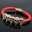 Good Quality Red Leather Multi Skull Bracelet Bangle W/ Clear Swarovski Crystals