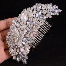 Hot Flower Hair Comb Pieces Bridal W/ Clear Rhinestone Crystals For Wedding