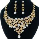 Unique Gold Skull Star Necklace Earring Set W/ Swarovski Crystals 4 Halloween