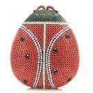 Unique Red Ladybug Ladybird Clutch Evening Bag Purse W/ Swarovski Crystals