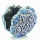 Bling Bling Blue Rose Flower Clutch Evening Bag Purse W/ Swarovski Crystals