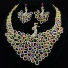 Luxury Animal Peafowl Peacock Necklace Earring Set W/ Mix Swarovski Crystals