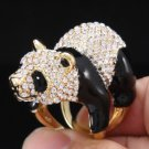 High Quality Gold Bear Panda Cocktail Ring Sawarovski Crystals USA:7#,UK:N 1/2
