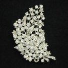 """Bridal Rhinestone Crystals Pretty Clear Flower Brooch Pin 2.7"""" For Wedding"""