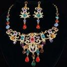 New High Quality Drop Leaf Flower Necklace Earring Set W/ Mix Swarovski Crystals