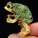 Pretty Cocktail Cute Green Frog Ring 8# W/ Swarovski Crystals
