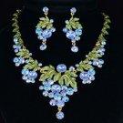 Swarovski Crystals High Quality Pretty Leaf Blue Grape Necklace Earring Set
