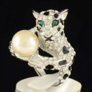 Cocktail Cute Faux Pearl Clear Leopard Panther Ring 6# Swarovski Crystals