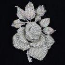 """Gorgeous Big Clear Rose Brooch Pin 5.5"""" W/ Rhinestone Crystals"""