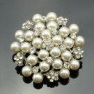 Bridal Rhinestone Crystals Imitation Pearl Flower Brooch Pin