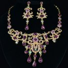 Exquisite High Quality Flower Necklace Earring Set w/ Purple Swarovski Crystals